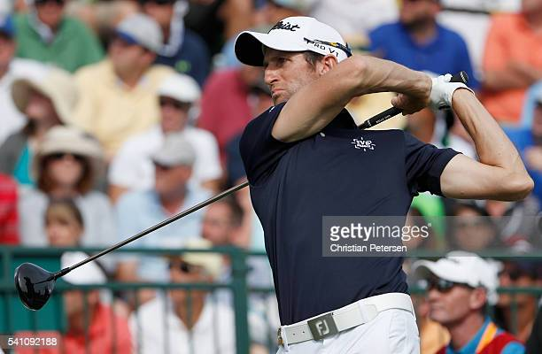 Gregory Bourdy of France hits his tee shot on the third hole during the third round of the US Open at Oakmont Country Club on June 18 2016 in Oakmont...