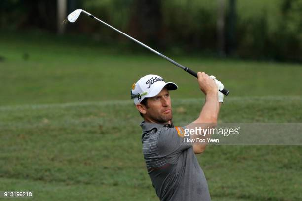Gregory Bourdy of France in action during day two of the 2018 Maybank Championship Malaysia at Saujana Golf and Country Club on February 2 2018 in...