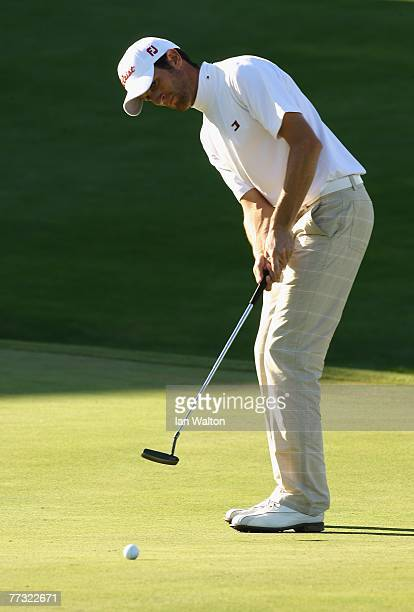 Gregory Bourdy of France in action on the 18th green during the final round of the Valle Romano Open de Madrid at the Real Sociedad Hipica Espanola...