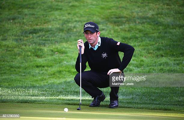 Gregory Bourdy of France lines up a putt on the 10th green during day two of the Open de Espana at Real Club Valderrama on April 15 2016 in...