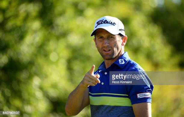 Gregory Bourdy of France on the 17th tee during the proam event prior to the DD REAL Czech Masters at the Albatross Golf Resort on August 30 2017 in...