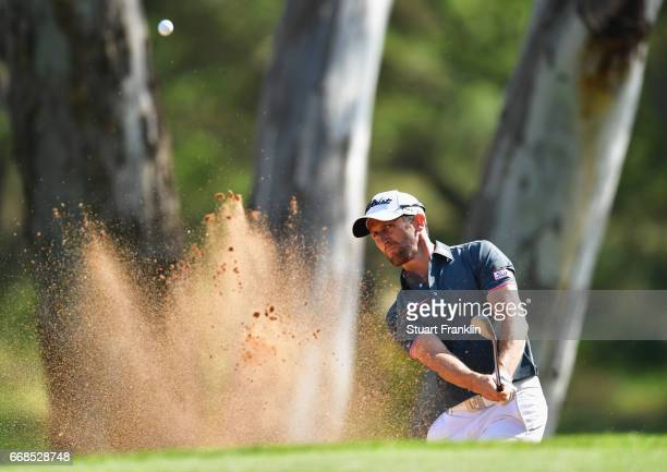 Gregory Bourdy of France plays from a bunker during day 2 of the Trophee Hassan II at Royal Golf Dar Es Salam on April 14 2017 in Rabat Morocco