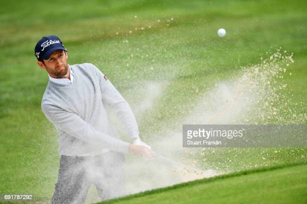 Gregory Bourdy of France plays from a bunker during day three of Nordea Masters at Barseback Golf Country Club on June 3 2017 in Barsebackshamn Sweden