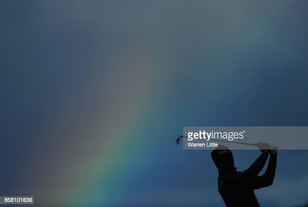 Gregory Bourdy of France plays his secod shot into the 18th green during the first round of the Alfred Dunhill Links Championship at Kingsbarns Golf...
