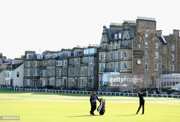 Gregory Bourdy of France plays his second shot on the 1st during the final round of the 2017 Alfred Dunhill Championship at The Old Course on October...