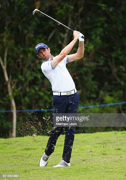 Gregory Bourdy of France plays his second shot on the 5th hole during day three of the Open de Espana at Real Club Valderrama on April 16 2016 in...