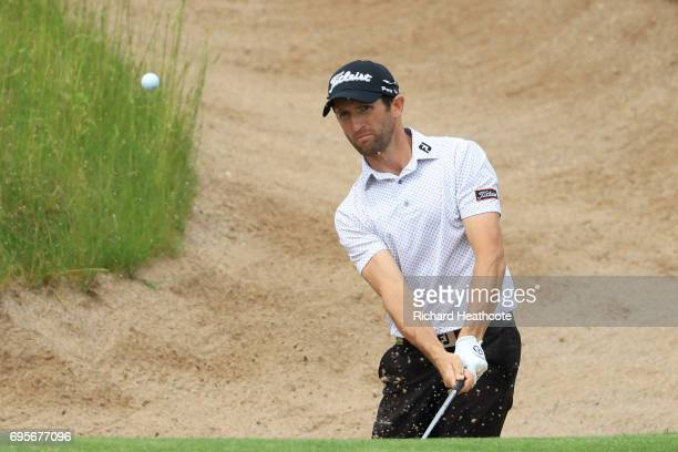 Gregory Bourdy of France plays his shot during a practice round prior to the 2017 US Open at Erin Hills on June 13 2017 in Hartford Wisconsin