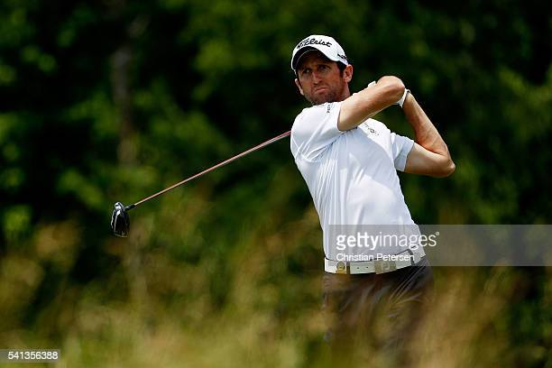 Gregory Bourdy of France plays his shot from the fourth tee during the final round of the US Open at Oakmont Country Club on June 19 2016 in Oakmont...
