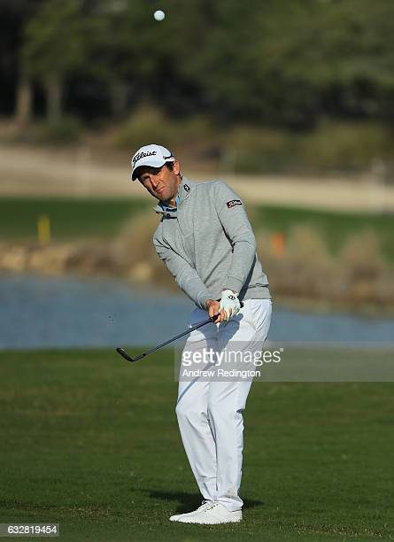 Gregory Bourdy of France plays his third shot on the 15th hole during the second round of the Commercial Bank Qatar Masters at the Doha Golf Club on...