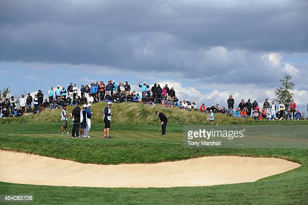 Gregory Bourdy of France putts on the 12th green during day four of DD REAL Czech Masters at Albatross Golf Resort on August 24 2014 in Prague Czech...