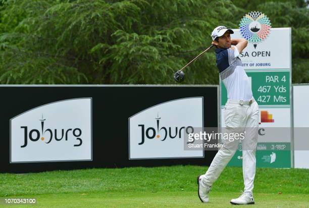Gregory Bourdy of France tees off during the final round on day four of the South African Open at Randpark Golf Club on December 9, 2018 in...