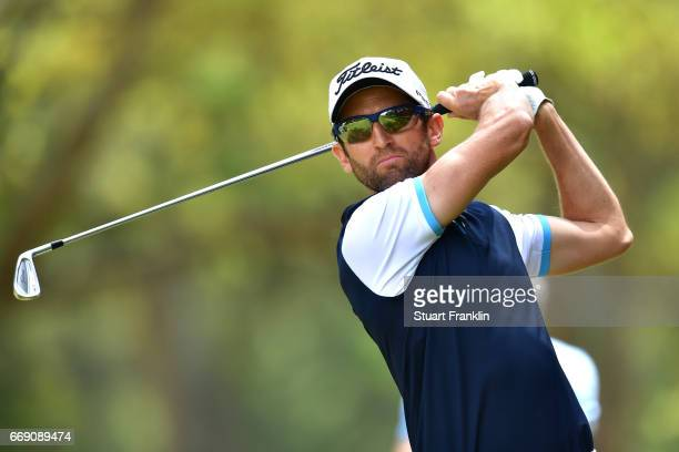 Gregory Bourdy of France tees off during the fourth round of the Trophee Hassan II at Royal Golf Dar Es Salam on April 16 2017 in Rabat Morocco