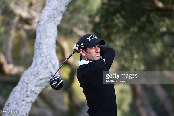 Gregory Bourdy of France tees off on the 11th hole during day two of the Open de Espana at Real Club Valderrama on April 15 2016 in Sotogrande Spain