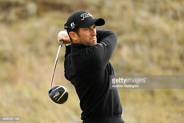 Gregory Bourdy of France tees off on the 13th hole during the first round of the AAM Scottish Open at Castle Stuart Golf Links on July 7 2016 in...