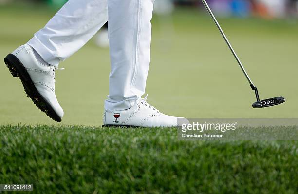 Gregory Bourdy of France walks across the second green during the third round of the US Open at Oakmont Country Club on June 18 2016 in Oakmont...