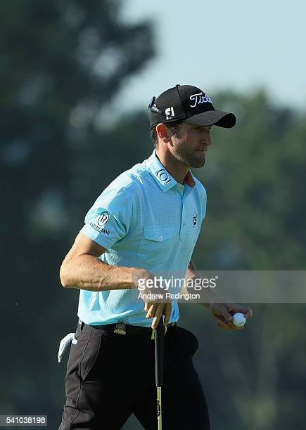 Gregory Bourdy of France walks off the third green during the continuation of the second round of the US Open at Oakmont Country Club on June 18 2016...