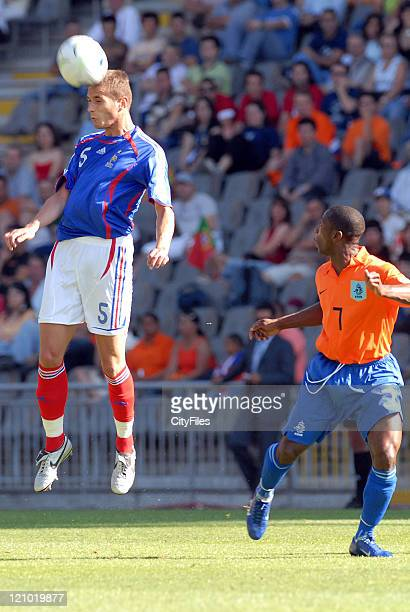 Gregory Bourillon going up for a header during the UEFA European Under21 Championship Final match beteewn Netherlands vs France on June 1 2006 The...