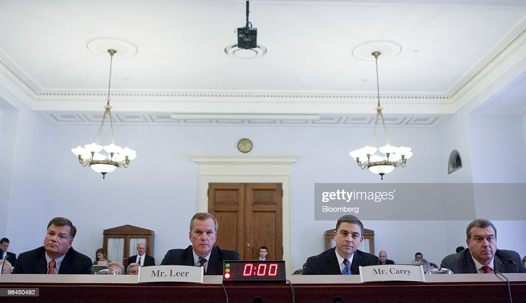 Gregory Boyce, president and chief executive officer of Peabody Energy Corp., left to right, Steven Leer, chairman and chief executive officer of Arch Coal Inc., Michael Carey, president of the Ohio Coal Association, and Preston Chiaro, chief executive for energy and minerals of Rio Tinto Energy, listen during a hearing on coal energy in Washington, D.C., U.S., on Wednesday, April 14, 2010. A hearing of the House Select Committee on Energy Independence was disrupted today when protestors wearing masks began yelling as Boyce testified on the coal industry. Photographer: Andrew Harrer/Bloomberg via Getty Images