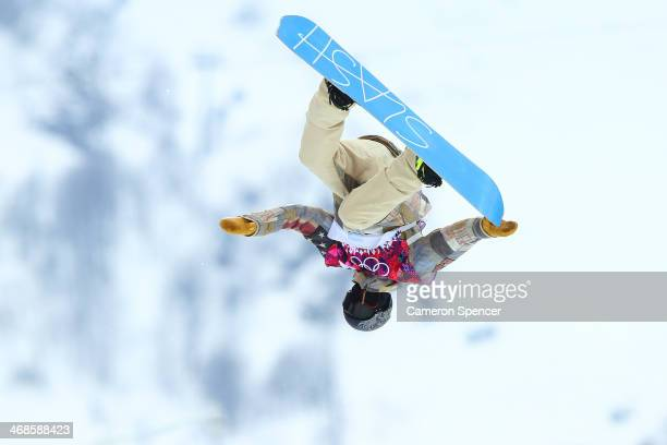 Gregory Bretz of the United States competes in the Snowboard Men's Halfpipe Qualification Heats on day four of the Sochi 2014 Winter Olympics at Rosa...