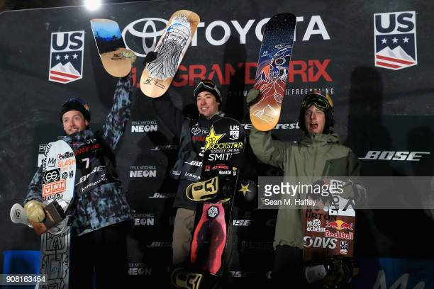 Gregory Bretz third place Chase Josey first place and Gregory Bretz react on the podium after the final round of the Men's Snowboard Halfpipe during...