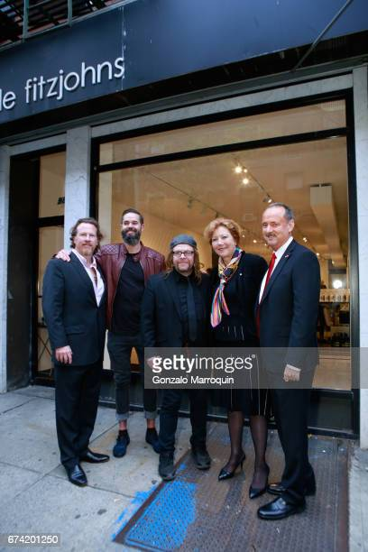 Gregory De La Haba Pete Mager Billy the Artist Brigitte and Swiss Ambassador Andre Schaller attend the Swiss Wine Valais Loves New York hosted by...