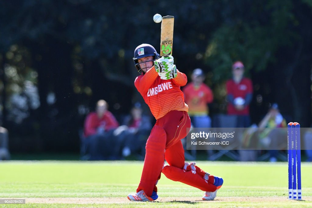 Gregory Dollar of Zimbabwe bats during the ICC U19 Cricket World Cup match between Zimbabwe and Papua New Guinea at Lincoln Green on January 13, 2018 in Christchurch, New Zealand.
