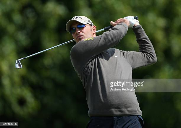 Gregory Havret of France hits his teeshot on the second hole during the third round of the Smurfit Kappa European Open on July 7 2007 on the Smurfit...
