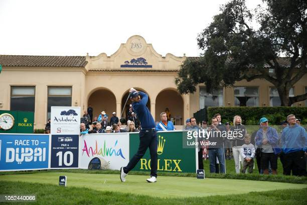 Gregory Havret of France plays his shot off the 10th tee during day one of the Andalucia Valderrama Masters at Real Club Valderrama on October 18...