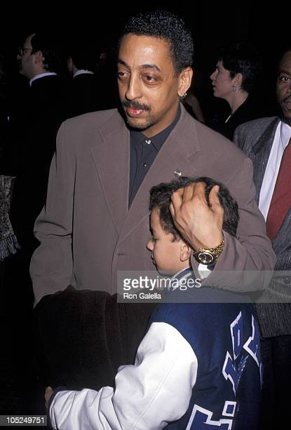 """Gregory Hines and son during Opening Night of """"Damn Yankees"""" - 1994 at Marquis Theater in New York, NY, United States."""