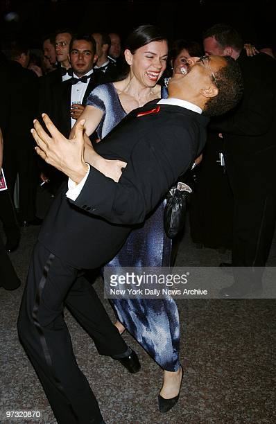 Gregory Hines dances with girlfriend Negrita Jayve at party in Rockefeller Center following the Tony Awards ceremony