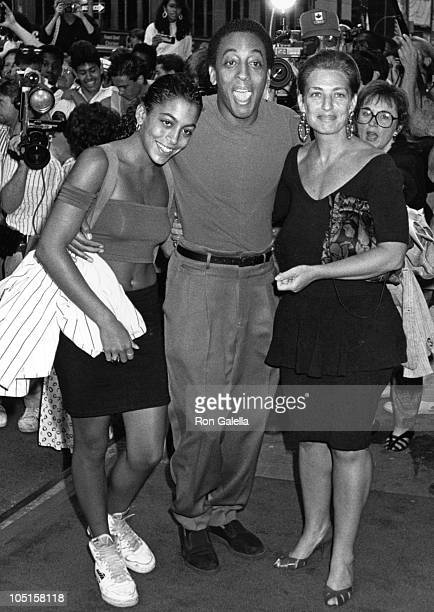 Gregory Hines Daughter Wife during Premiere of Who's That Girl at The Armed Forces Bldg in New York City NY United States