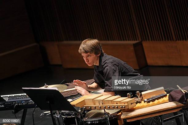 Gregory LaRosa of Axiom performing John Adams's Son of Chamber Symphony at Peter Jay Sharp Theater at the Juilliard School on Friday night October 17...