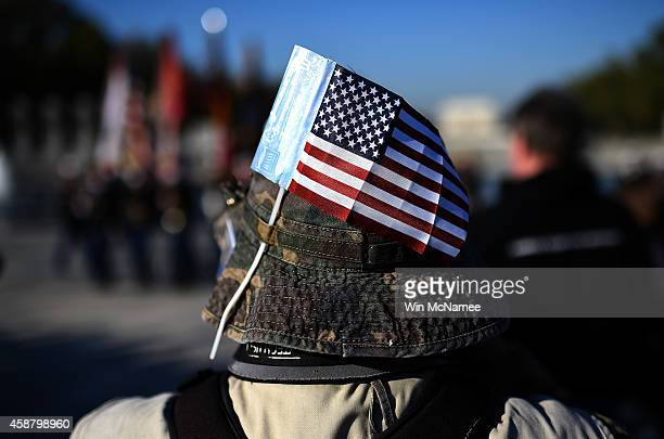 Gregory Mallett attends a Veterans Day ceremony at the World War Two Memorial November 11 2014 in Washington DC Originally established as Armistice...