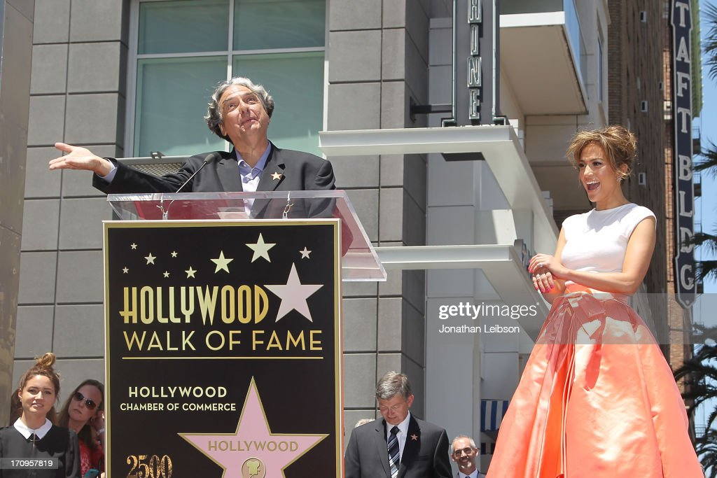 Gregory Nava and Jennifer Lopez attend the ceremony honoring Jennifer Lopez with a Star on The Hollywood Walk of Fame held on June 20, 2013 in Hollywood, California.