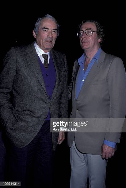 Gregory Peck and actor Michael Caine sighted on March 3 1986 at Spago Restaurant in West Hollywood California