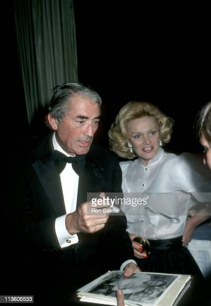 Gregory Peck and Barbara Marx during Friars Club Testimonial Dinner Honoring Henry Kissinger at Waldorf Astoria Hotel in New York City New York...