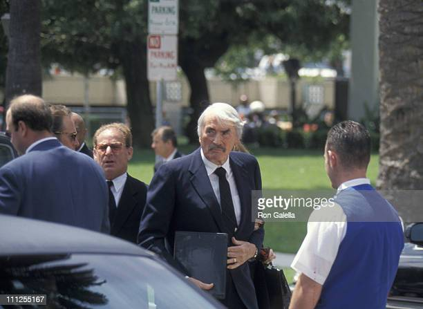 Gregory Peck and guests during Funeral of Frank Sinatra at Little Shepherd Catholic Church in Beverly Hills California United States
