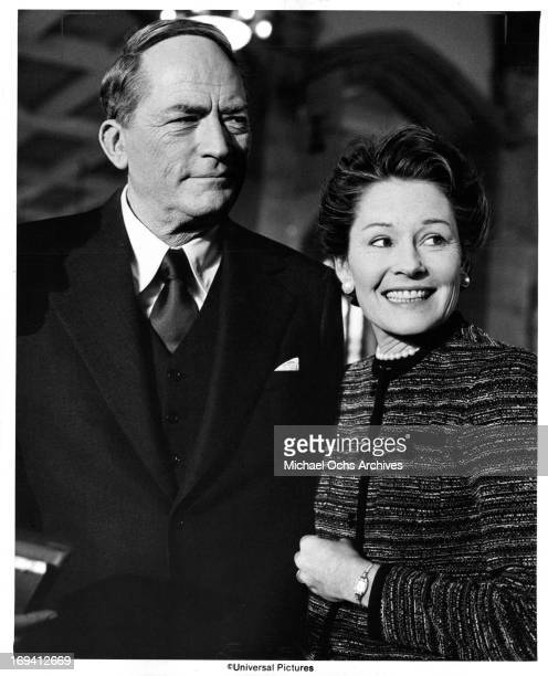 Gregory Peck and Marj Dusay in a scene from the film 'MacArthur' 1977