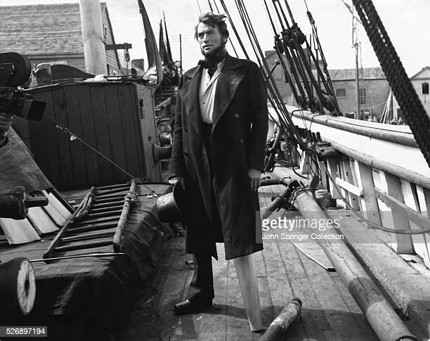 Gregory Peck as Captain Ahab aboard the fictional Pequod whaling ship.