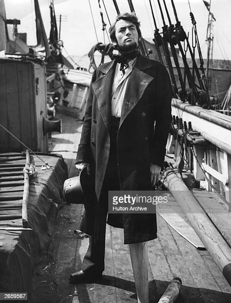 Gregory Peck , as Captain Ahab during the shooting of 'Moby Dick', on location at Youghal, County Cork, Ireland.