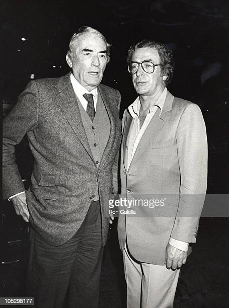 Gregory Peck Michael Caine during Departing Spago's at Spago's Restaurant in Hollywood CA United States