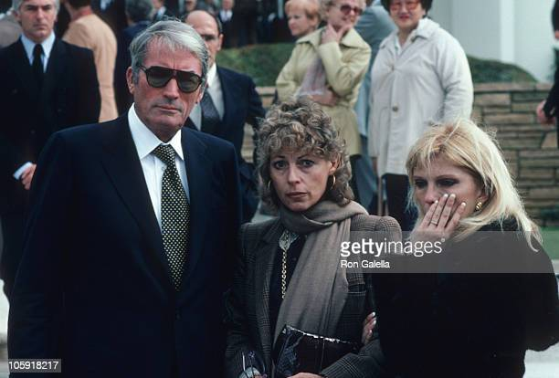 Gregory Peck Veronique Peck and Nancy Sinatra during David Janssen's Funeral Service February 17 1980 at Hillside Memorial Park in Los Angeles...