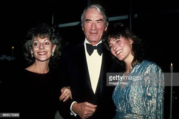 1980s: Gregory Peck, wife Veronique and daughter Cecilia circa 1980s in New York City.