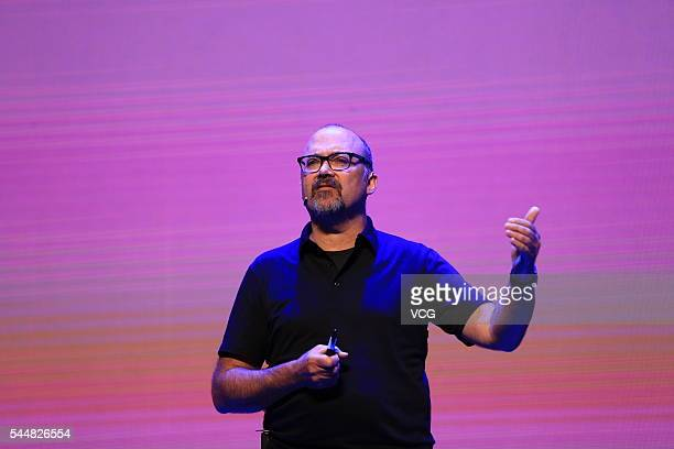 Gregory Petroff GE Chief Experience Officer delivers a speech during the International Conference of Experience Design 2016 on July 1 2016 in Beijing...