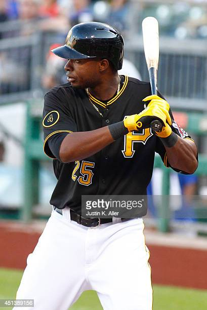 Gregory Polanco of the Pittsburgh Pirates at bat against the New York Mets during the game at PNC Park on June 26 2014 in Pittsburgh Pennsylvania