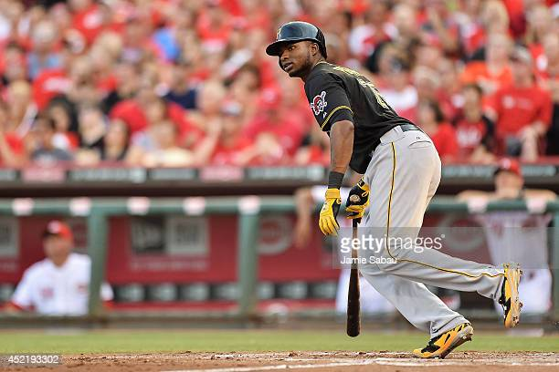 Gregory Polanco of the Pittsburgh Pirates bats against the Cincinnati Reds at Great American Ball Park on July 11 2014 in Cincinnati Ohio