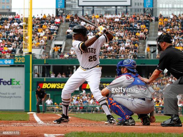 Gregory Polanco of the Pittsburgh Pirates bats against the New York Mets during the game at PNC Park on June 29 2014 in Pittsburgh Pennsylvania