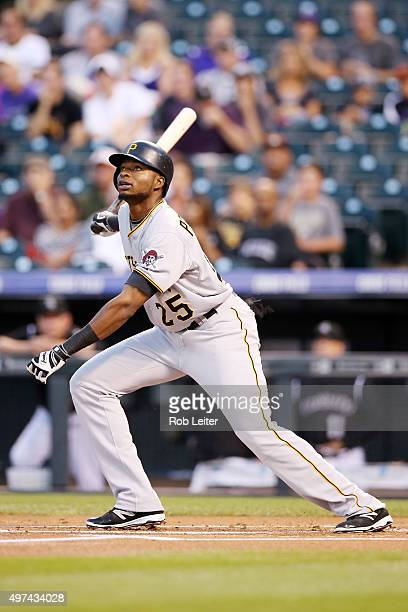 Gregory Polanco of the Pittsburgh Pirates bats during the game against the Colorado Rockies at Coors Field on September 23 2015 in Denver Colorado...