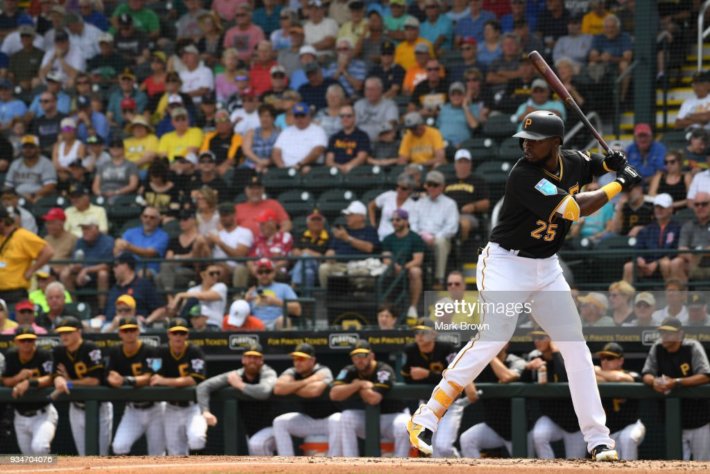 Gregory Polanco #25 of the Pittsburgh Pirates bats in the first inning during the spring training game between the Pittsburgh Pirates and the Minnesota Twins at LECOM Field on March 19, 2018 in Bradenton, Florida.