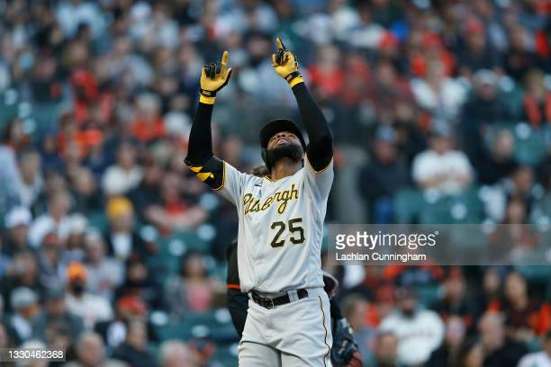 Gregory Polanco of the Pittsburgh Pirates celebrates after hitting a solo home run in the top of the fifth inning against the Pittsburgh Pirates at...